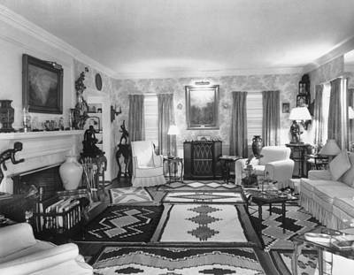Native American Nude Photograph - Living Room Of J. Edgar Hoovers Living by Everett