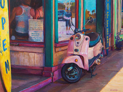 Scooter Painting - Living The Dream by Jeanne Young