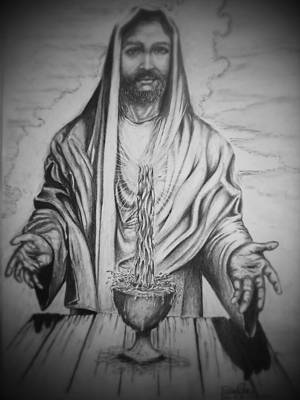 Pencil Drawing Of Jesus Drawing - Living Water by Fabio Cedeno