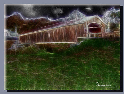 Manipulation Photograph - Livingston Manor Covered Bridge - Featured In Comfortable Art Group by EricaMaxine  Price