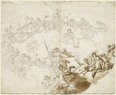 Livio Retti Italian, 1692-93 - 1751, The Triumph Of Virtue Art Print