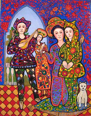 Liz And Madeline With Bunny Hat And Music Original by Marilene Sawaf