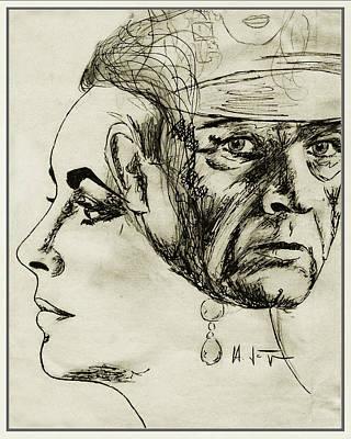 Elizabeth Taylor Drawing - Liz  And  Richard by Hartmut Jager