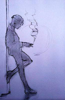 Androgyny Drawing - Liz Waiting by H James Hoff