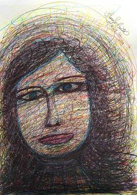 Primitive Drawing - Liza With Blue Eyes - Spirit Led by Tracy W Smith