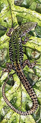 Animals Paintings - LIZARD in GREEN NATURE - Elena Yakubovich by Elena Yakubovich
