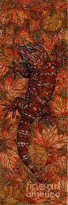 Fallen Leaves Painting - Lizard In Red Nature - Elena Yakubovich by Elena Yakubovich
