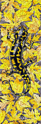 Salamanders Drawing - Lizard In Yellow Nature - Elena Yakubovich by Elena Yakubovich