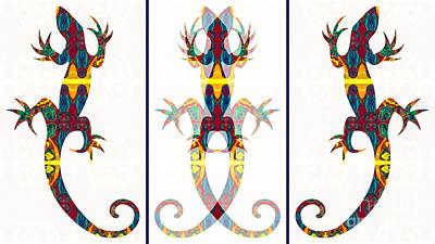 Digital Art - Lizard Love An Abstract Reptilian Adventure by Omaste Witkowski