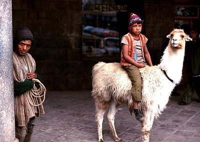 Photograph - Llama Boy And Herder by Robert  Rodvik