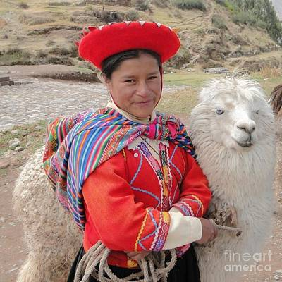 Photograph - Llama Lady by Barbie Corbett-Newmin