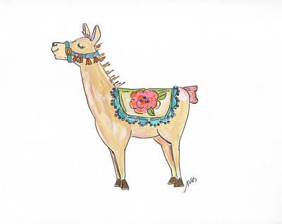 Llama Painting - Llama by Molly Susan Strong