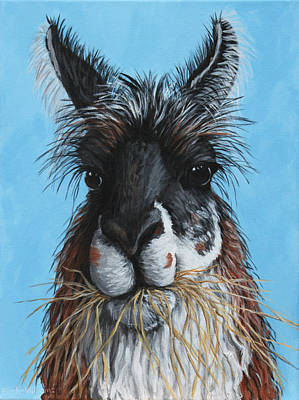 Llama Portrait Art Print by Penny Birch-Williams