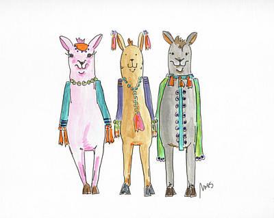 Llama Painting - Llama Three by Molly Susan Strong
