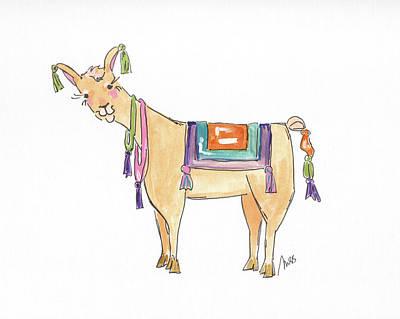 Llamas Painting - Llama Two by Molly Susan Strong