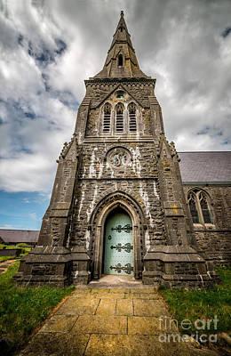 Entrance Door Photograph - Llandwrog Church  by Adrian Evans