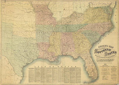 South Louisiana Drawing - Lloyd's Railroad Map Of The Southern States - 1861 by Sailor Keddy