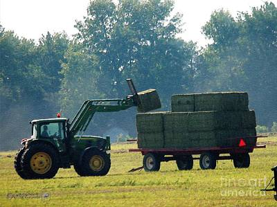 Painting - Loading Hay At Dusk by J McCombie