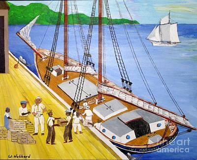 Drawing - Loading The Sch. H.l.marshall At Jamaica by Bill Hubbard