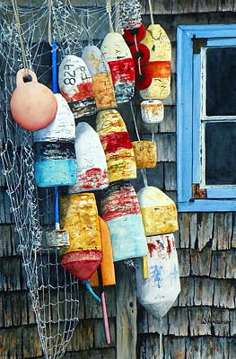 Laguna Beach Painting - Lobstah Buoys by Bill Hudson
