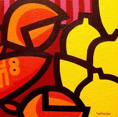 Lemon Painting - Lobster And 5 Lemons by John  Nolan