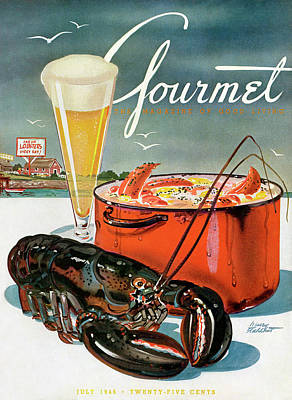 Lobster And Beer Print by Henry Stahlhut