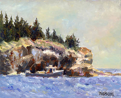 Lobster Boat Maine Painting - Lobster Boat In Acadia National Park by Pamela Parsons