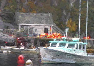 Down East Photograph - Lobster Boat New Harbor Maine Painterly Effect by Carol Leigh