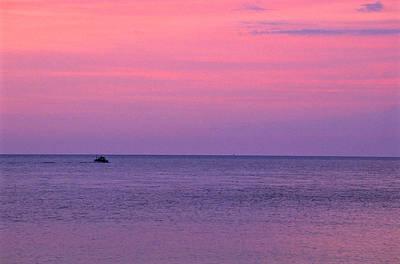 Lobster Boat Under Purple Skies Art Print by Jeremy Herman
