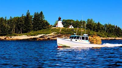 Maine Photograph - Lobster Boat With Burnt Island Light by Robert McCulloch