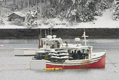 Winter In Maine Photograph - Lobster Boats After Snowstorm In Tenants Harbor Maine by Keith Webber Jr