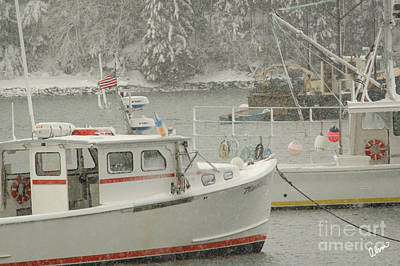 Photograph - Snowy Lobster Boats by Alana Ranney