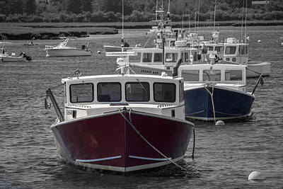 Photograph - Lobster Boats Selective Color by Kirkodd Photography Of New England