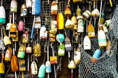 Lobster Buoys And Fishing Net Art Print
