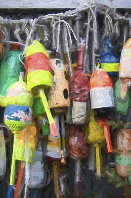 Down East Photograph - Lobster Buoys Painterly Effect by Carol Leigh