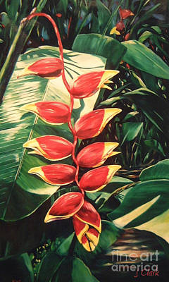 Lobster Claw Painting - Lobster Claw Heliconia by John Clark