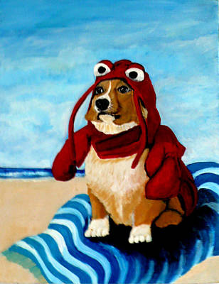 Lobster Corgi On The Beach Art Print