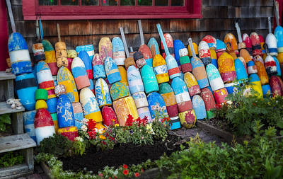 Massachusetts Photograph - Lobster Fishing Buoys by Susan Candelario