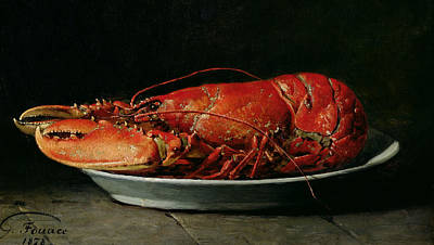 1878 Painting - Lobster by Guillaume Romain Fouace