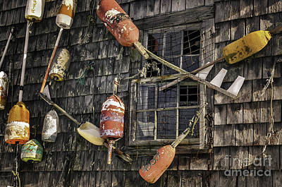 Maine Cottage Photograph - Lobster Shack Window Dressing by Thomas Schoeller