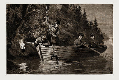 Lobster Spearing By Torchlight In Canada Art Print by Litz Collection