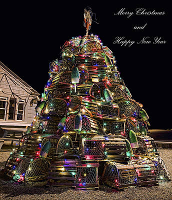 Art Print featuring the photograph Lobster Trap Christmas Tree Card by Richard Bean