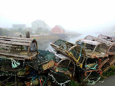 Lobster Traps And Fog Art Print by Tracy Munson