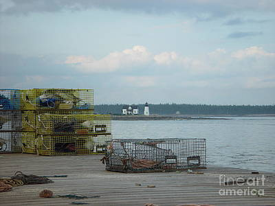 Lobster Traps At Prospect Harbor Wharf Art Print by Christopher Mace