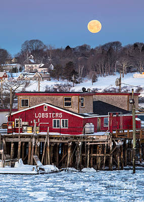Maine Landscape Photograph - Lobster Wharf Moon by Benjamin Williamson