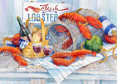Basket Painting - Lobsters Galore by Paul Brent
