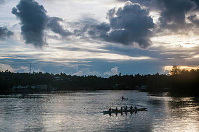Micronesia Photograph - Local People Training For The Rowing by Michael Runkel