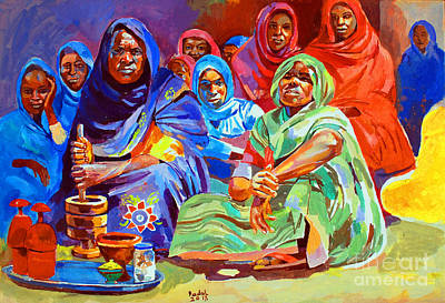 Painting - Local Perfume For The Bride by Mohamed Fadul