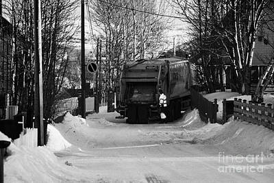 Local Waste Collection Lorry Collecting From Snow Covered Residential Street Kirkenes Finnmark Norwa Art Print