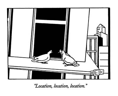 Pigeon Drawing - Location, Location, Location by Bruce Eric Kaplan